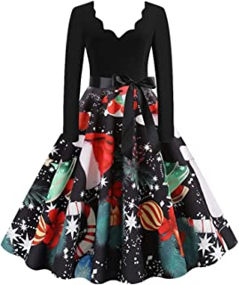 Christmas Vintage Dress Women Elegant Long Sleeve Print Dresses O Neck Xmas Evening Cocktail Party A-line Swing Dress