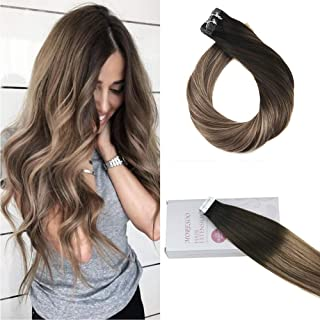 Moresoo 22inch Tape in Hair Extensions Remy Human Hair Balayage Hair Extensions Seamless Hair Color #1B Black Fading to #8 and #12 50 Grams 20PCS Glue on Human Hair Extensions