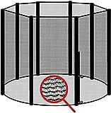 awm® Trampolin Sicherheitsnetz für 8 Stangen - System Fangnetz Netz außenliegend Trampolinnetz...