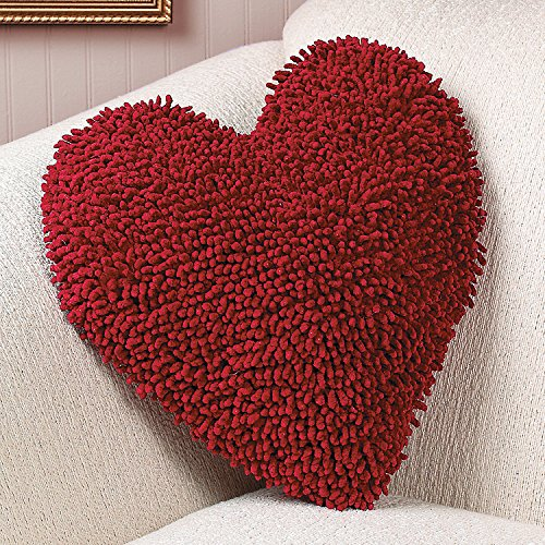 Red Heart Chenille Pillow - Valentine's Day Home Decor