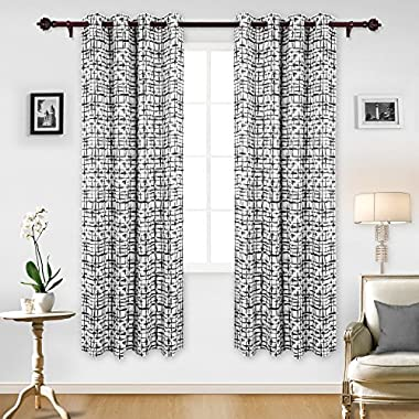 Deconovo Elegant Abstract Pattern Curtains Grommet Top Thermal Insulated Blackout Curtains 84 Length 52 Inch Black 2 Panels