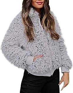 Women's Casual Warm Faux Shearling Coat Jacket Autumn Winter Long Sleeve Lapel Fluffy Fur Outwear