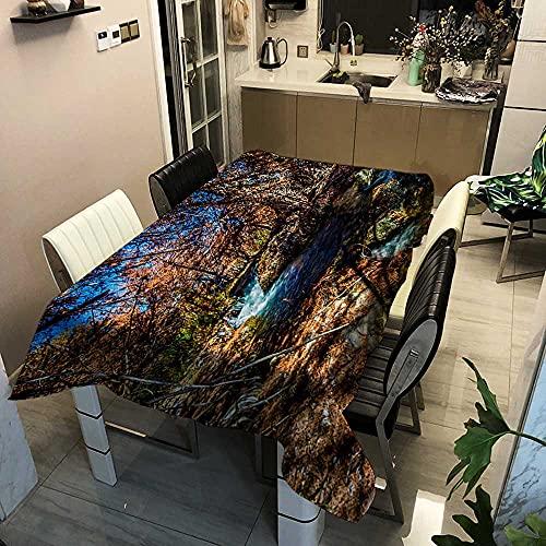 XXDD Mantel de árbol Forestal y Ciervo, manteles Frescos de Lino y algodón, decoración del jardín del hogar, Mantel de Estilo rústico Retro A11, 150x210cm