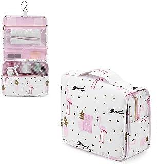 Aizbo Large Capacity Hanging Travel Toiletry Bag,Women Waterproof Toiletries Bag Cosmetic Organizer Travel Folding Makeup Bag Overnight Wash Bag with Hook (white)