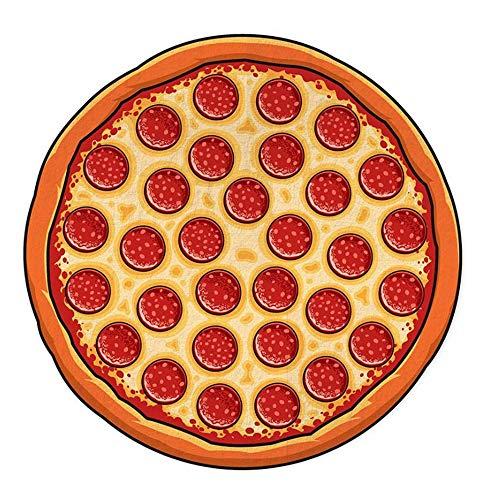 SHNAN Toalla De Playa De Microfibra Estera De Playa Creativa con Temas De Alimentos Impresión Digital Toalla De Playa De Forma Irregular, Baño De Natación para Acampar Deportivo (150 * 150 Cm),Pizza