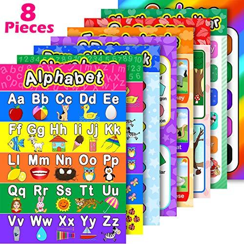 8 Carteles Educativos Preescolares para Aprendizaje de Bebé y Niño con 60 Puntos de Pegamento para Escuela en Casa Guardería - Enseñar Números Alfabeto Colores Meses y Más 16 x 11 Pulgadas