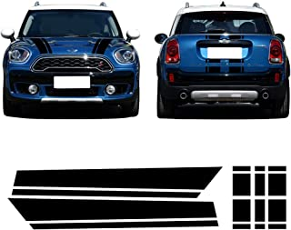 CHARMINGHORSE Bonnet Stripe Graphics Sticker Hood Trunk Pegatinas de calcomanía trasera para Mini Cooper S Countryman F60 2017-4 Colores (Negro)