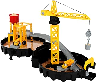 Construction Site Toys Stem Engineering Truck Car Vehicle Playset with Manual Crane Elevator Alloy Mixer Dump Truck Car Track Boys Toys Gift for Toddlers Kids Child Age 2 3 4 5 Year Old