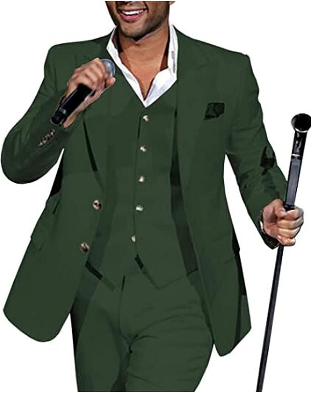 3 Pcs Peak Collar Men Suits (Blazer+Pants+Vest) Wedding Grooms Tuxedo