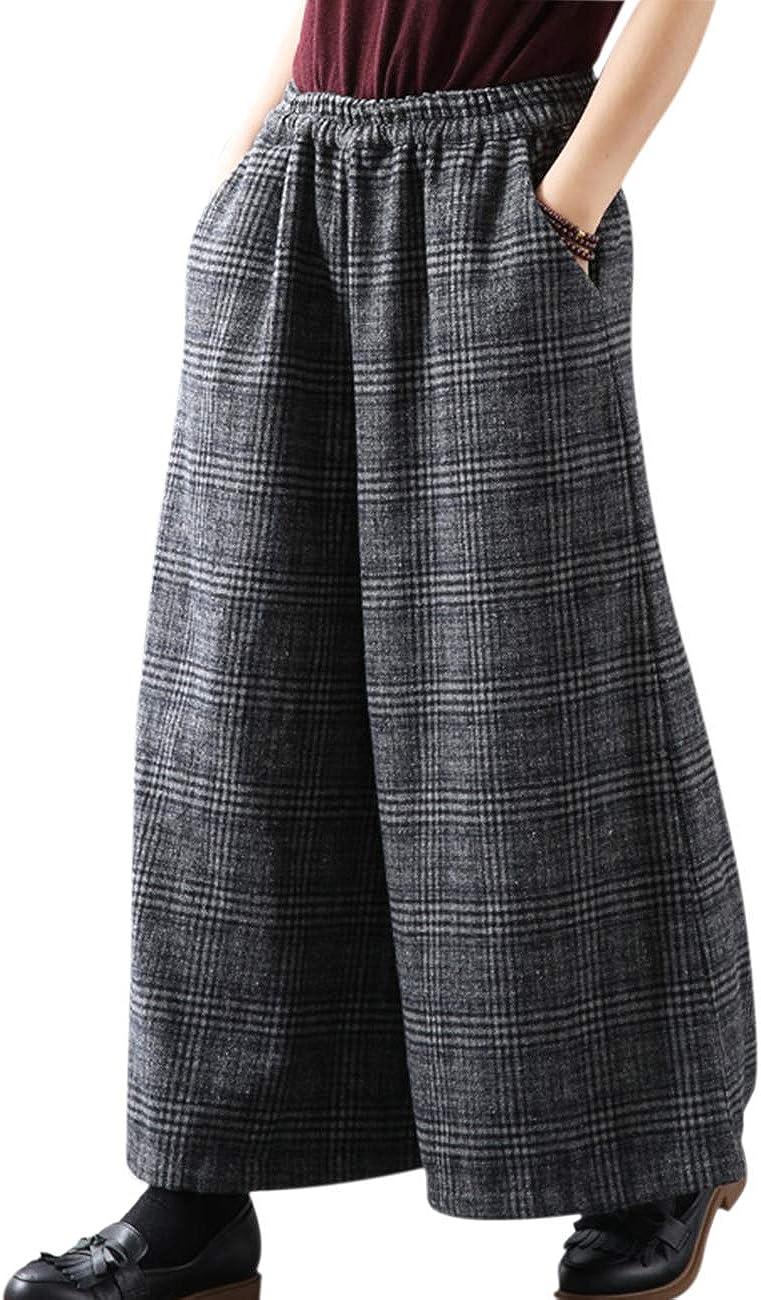 YESNO PK5 Casual Loose Cropped Pants Wool Blend Warm Trousers Checks Wide Leg Pockets (2XL, Gray)