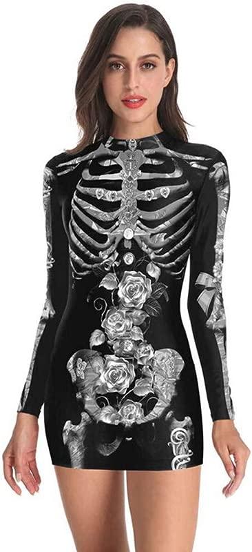 Onegirl Halloween Terror Print Costume For Women Sexy Long Sleeve Mini Dress Festival Party Short Dress S XLL