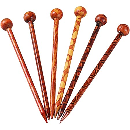 Lurrose 12pcs bacchette di capelli di legno modello rotondo turno cinese pin chignon stampa vintage capelli per capelli lunghi (colori assortiti)