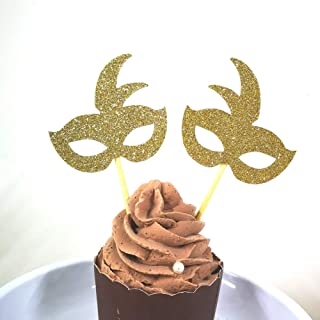 Set of 24 Gold Glitter Mask Cupcake Toppers Baby Shower Kid's Birthday Party Decorations