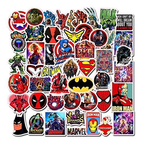 DUOYOU Pack Película Super Héroe Para Marvel Anime Coche De Dibujos Animados Motocicleta Teléfono Viaje Maleta Portátil Computadora Pegatina Juguete 50 unids/