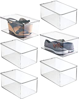 mDesign Stackable Closet Plastic Storage Bin Box with Lid - Container for Organizing Mens and Womens Shoes, Booties, Pump...