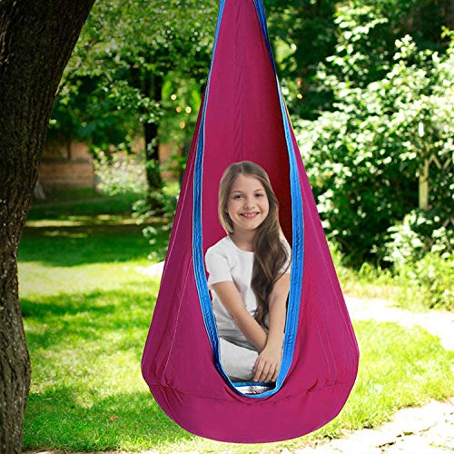 Mingfuxin Kids Pod Swing Seat, Safety Durable Child Hammock Swing Chairs, Kids Hanging hammock Chair for Indoor & Outdoor (Pink)