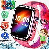 ONMET impermeable relojes inteligentes niños smartwatch, reloj gps niños reloj inteligente niña con GPS, Pantalla Táctil,SOS Calling, Cámara, mensaje de voz, despertador regalo de cumpleaños