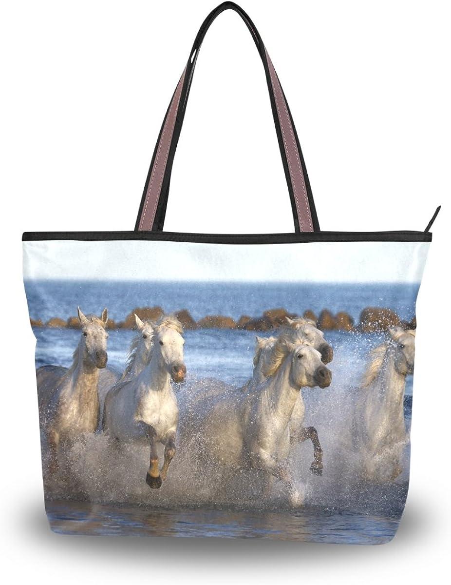 JSTEL Women Large Tote Top Handle Shoulder Bags Horse Patern Ladies Handbag L