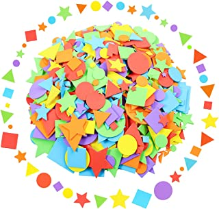 Sntieecr 1500 Pieces Assorted Colors Foam Geometry Stickers Mini Self Adhesive Geometry Shapes EVA Foam Stickers for DIY Art Craft (Circle, Square, Triangle, Pentagram)