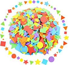 Sntieecr 1500 Pieces Assorted Colors Foam Geometry Stickers Mini Self Adhesive Geometry Shapes EVA Foam Stickers for DIY A...