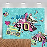 Retro Radio Fashion Shoes Back to the 90's Photography Backdrop Themed Decorations Party Banner Vinyl Hip Hop 90th Graffiti Blue Photo Background 5x3ft Birthday Party Photo Booth Props Supplies Banner