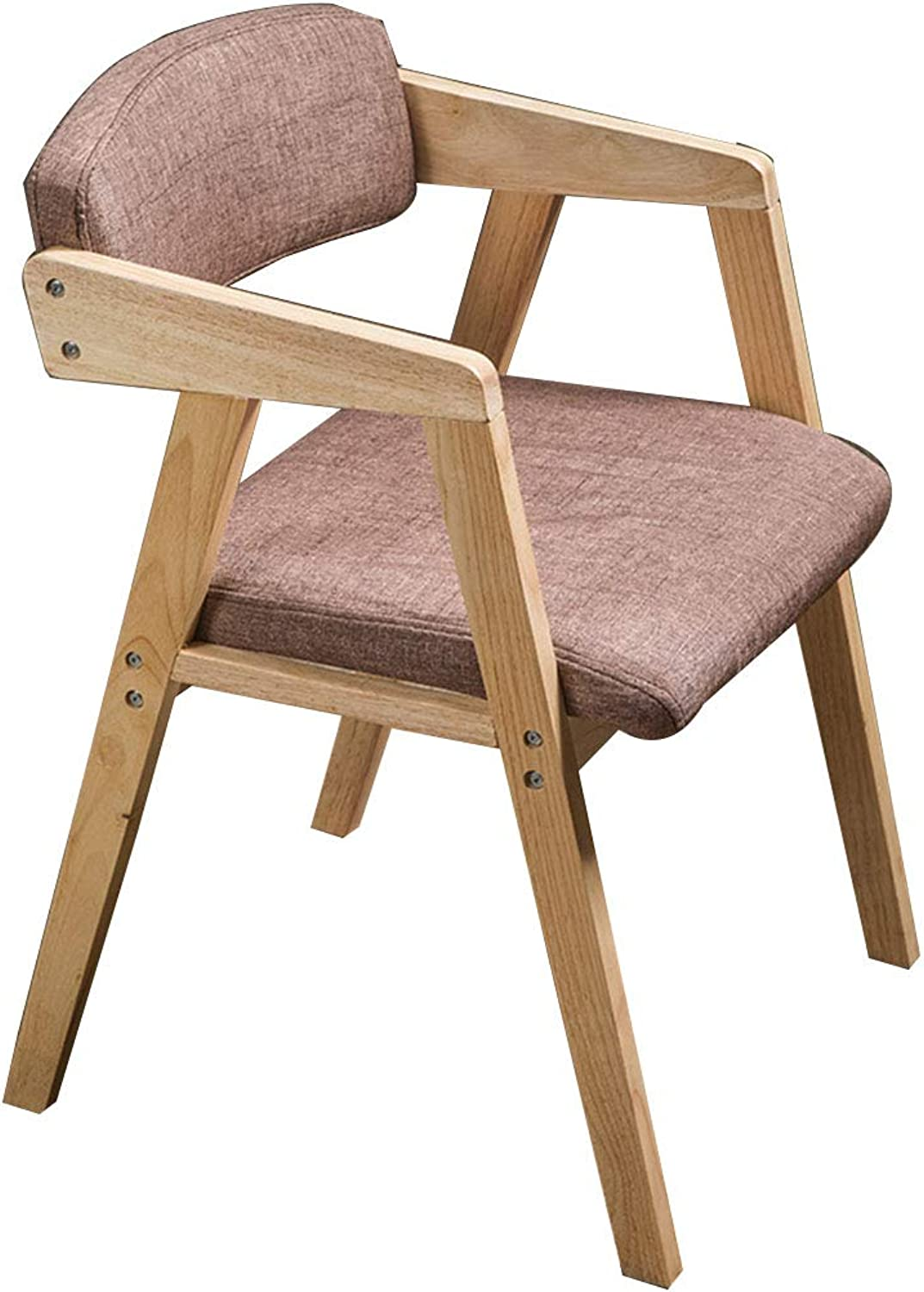 Solid Wood Dining Chair Home Restaurant Backrest Stool Retro with Armrest Desk Chair - Six colors Optional