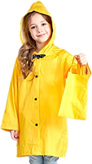 Kids Raincoat with Bows Girl Boy Waterproof Hood Rain Jacket Outdoor Age 2-10 with Bag