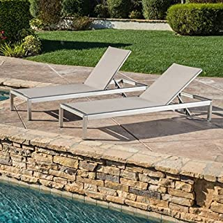 Modern, Grey ,Water Resistant ,Cape Coral Outdoor Aluminum Adjustable Chaise Lounge (Set of 2) - 296862