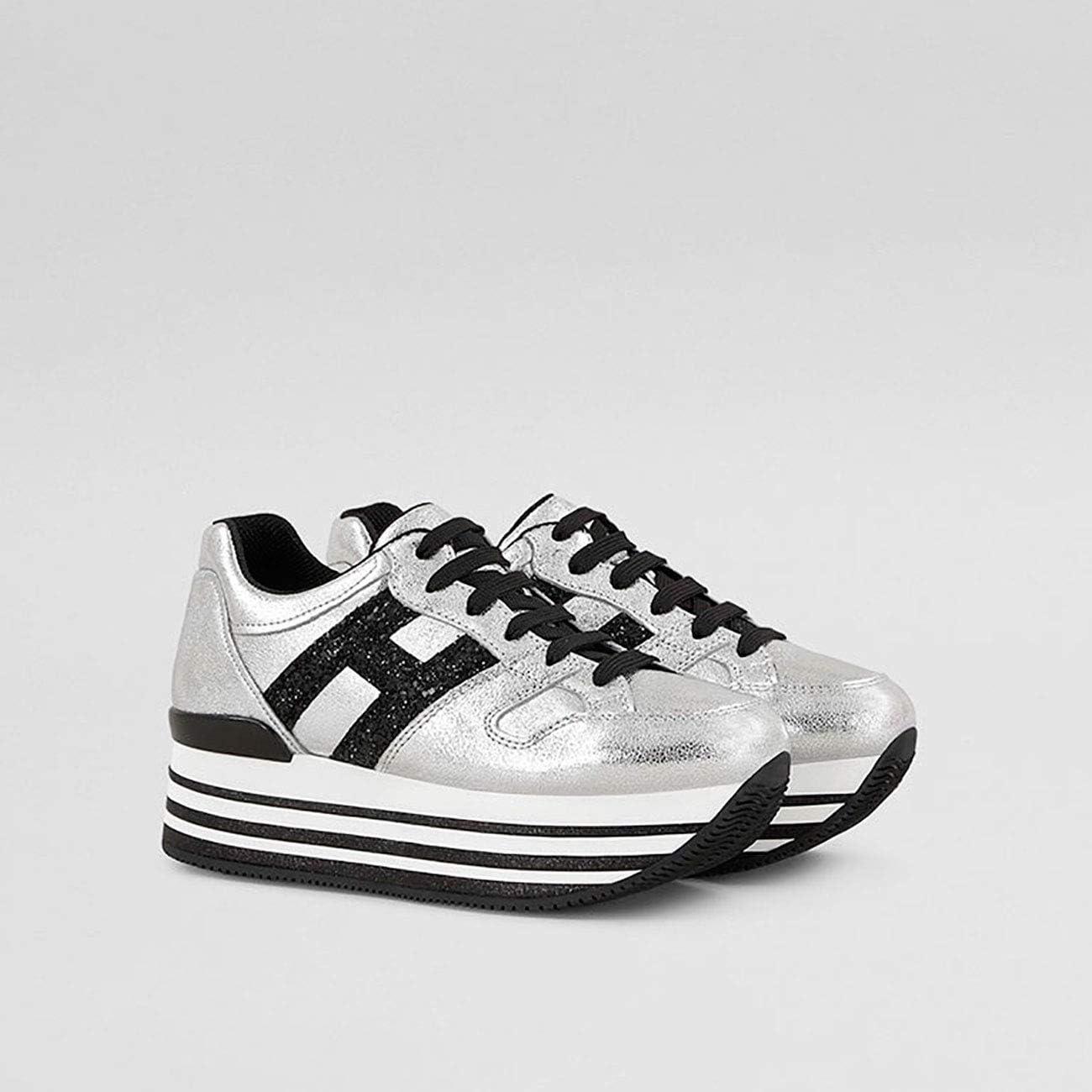 Hogan Sneakers H368 Maxi in Pelle Argento Nero, Donna, Taglia 36 ...