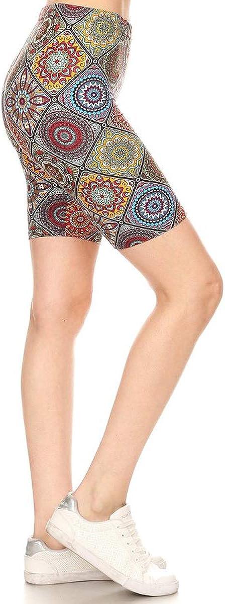 Leggings Depot Womens Ultra Soft Printed Fashion Biker Shorts BAT4