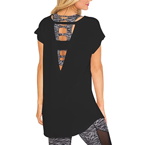 a475acdfc2ac6 SOLO POP Women s Loose Tops Large V Back Cut Out Blouses Open Strap Workout  Casual Shirt