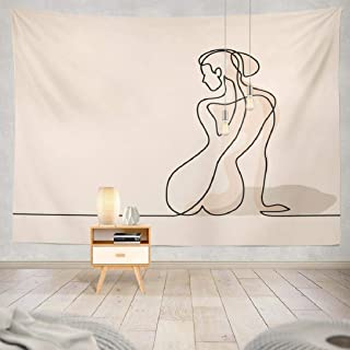 Kutita Zen Tapestry, Wall Hanging Tapestry Line Woman Sitting Soft Color Body Zen Silhouette Spa Wall Tapestry Dorm Home Decor Bedroom Living Room in 80X60 inch(Line Woman Sitting)