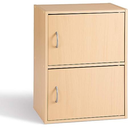 Alsapan Cube Meuble de Rangement 2 Portes Rangement d'Appoint Salon Chevet Chambre Erable 40 x 29 x 54 cm
