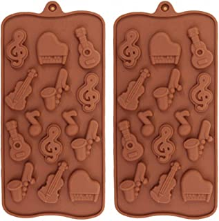 2Pack Musical Instrument Silicone Chocolate Mold Music Note Bass Guitar Piano Saxophone Shape Candy Mini Soap Crayon Melt Mould Ice Cube Trays