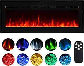 50 Inch Electric Fireplace Recessed Insert Wall Mounted Fireplace Heater with Remote Control Adjustable Flame Color Brightness Timer750W/1500W, Black