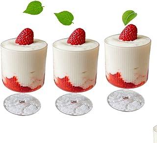 縦縞のアイスクリームカップ、280 mlの高価なガラス、 かわいいゴブレット、食品洗濯機の缶、DIYカクテル、シャンパン、ビール、アイスキューブ、ドリンク、ヨーグルト、プリン、アイスクリーム、ジュース、リキュール、アイスクリーム,デザート,ハイ...