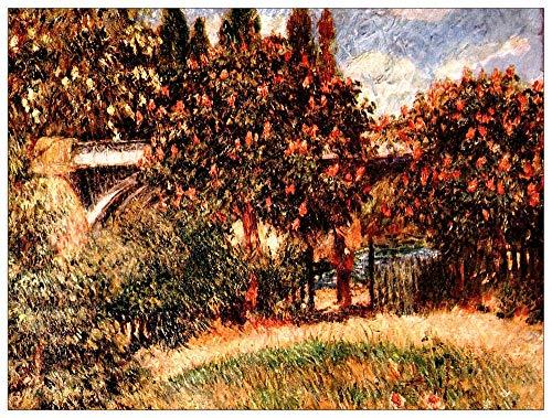 ArtPlaza Renoir Pierre-Auguste-Railway Bridge of Chatou Decoratieve MDF-plaat, meerkleurig, 80 x 60 cm