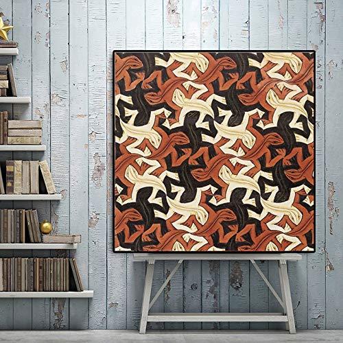 Nederlandse kunstenaar abstracte hagedis print canvas olieverf pop art muur foto woondecoratie frameloze schilderij 60x60 cm