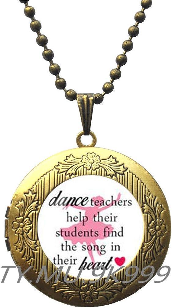 Yao0dianxku Dance Teacher Gift, Dance Jewelry, Dance Locket Necklace, Ballet Teacher GIft, Dance Gift, Dance Recital Gift.Y006