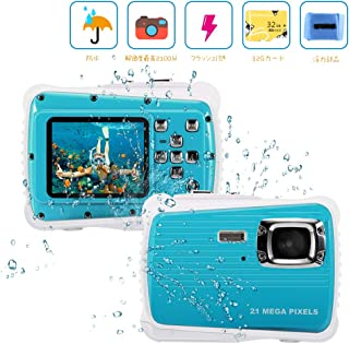 子供用 Rotek 子供用 カメラ 35MまでIP68完全防水 1080P録画 キッズカメラ トイカメラ 写真解像度2100w 2インチ 4倍ズーム 子供のおもちゃ 日本語説明書 ブルー