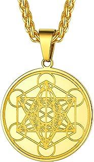 قلادة مكعب FaithHeart Metatron's ، الفولاذ المقاوم للصدأ أو 18K مطلية بالذهب قلادة حجر الراين الهندسي المقدس مع سلسلة مجوه...