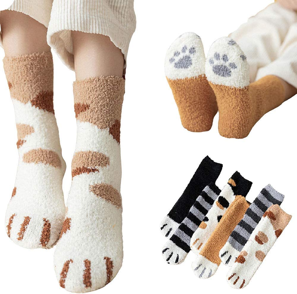 Cat Paw Socks Fuzzy High material Max 49% OFF Slippers Cute Wint Women