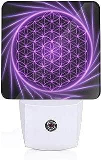 Led Night Light Sacred Geometry Flower Mandala Auto Senor Dusk to Dawn Night Light Plug in for Baby, Kids, Children's Adults Room