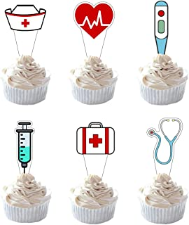 Party Hive 24pc Nursing Cupcake Toppers for Birthday Party Event Decor - Medical RN Nurse Graduation
