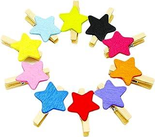 Kanggest 50pcs Mini Pinzas Madera Pequeñas Para Fotos Clips de Madera Decorativas estrella Colores Ropa Papel DIY Mini Fot...