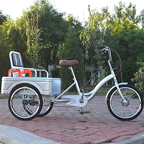 Triciclo para Adultos Bicicleta Bicicleta De Una Sola Velocidad De Triciclo Adulto De 20 Pulgadas con La Cesta De Las Compras Y El Asiento Trasero, El Diseño Tradicional De La Bici(Color:Plata)