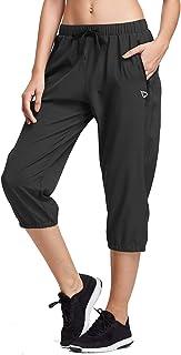 BALEAF Women Lightweight Jogger Pants Running Quick Dry Capri Sun Protection UPF 50+ Zipper Pockets