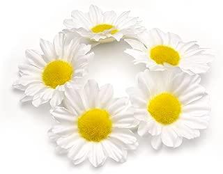 White Sunflower Hair Bun Garland Scrunchie Elastic by Pritties Accessories