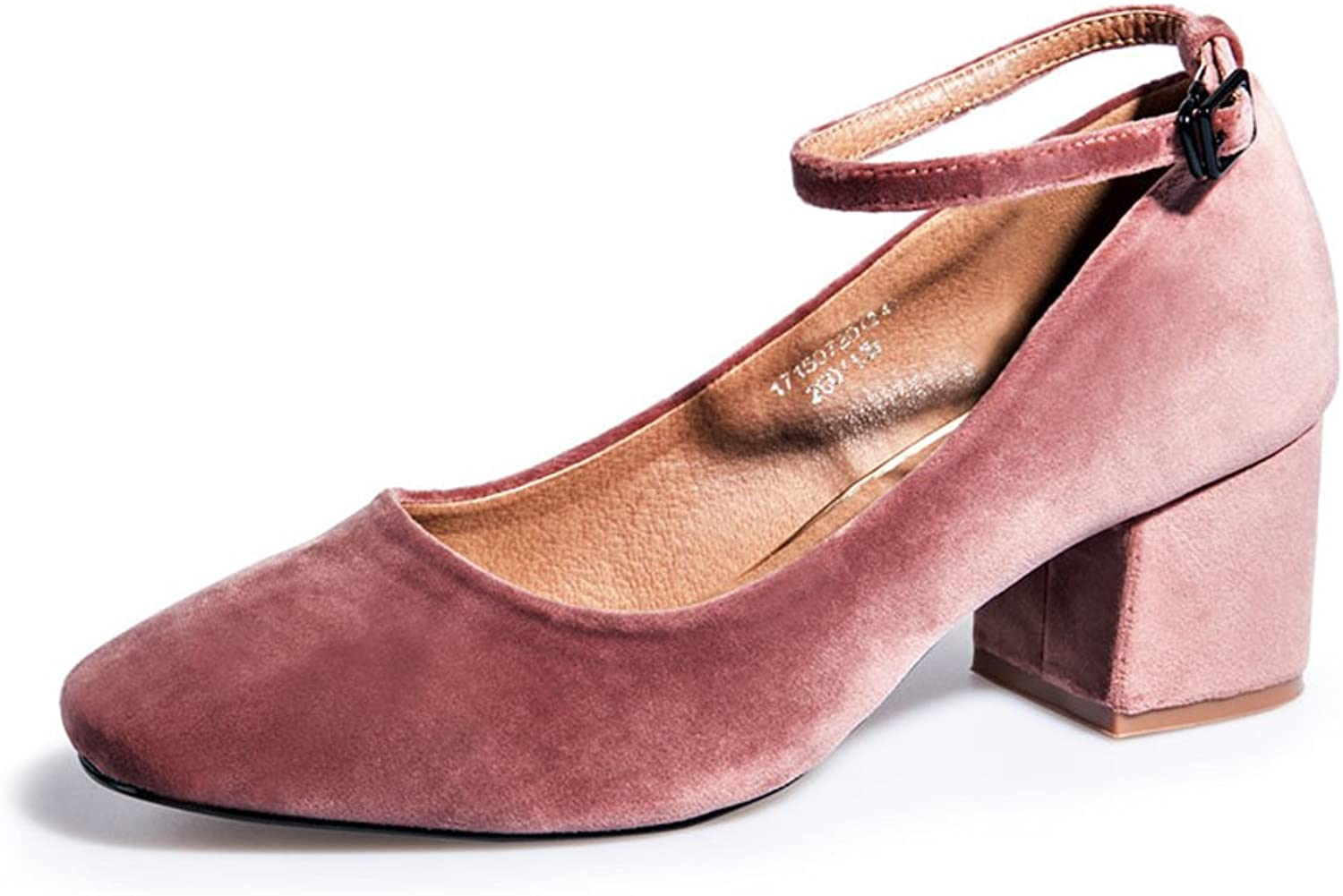 MET RXL Spring and Autumn Suede shoes Square Head shoes Lady Rough Heel