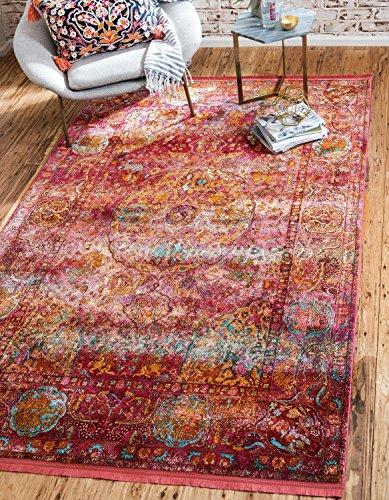 Unique Loom Baracoa Collection Bright Tones Vintage Alfombra tradicional roja (4 pies 3 x 6 pies 0)